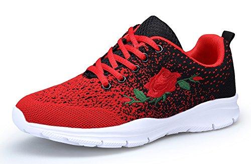 KOUDYEN Damen Laufschuhe Atmungsaktiv Turnschuhe Schnürer Sportschuhe Sneaker (EU41, Rot Schwarz)
