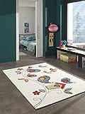 Kinder Teppich süße Vogel Kinderzimmer Spielteppich Tiermotive - 160x230 cm - schadstofffrei - Orange Grün Blau Creme