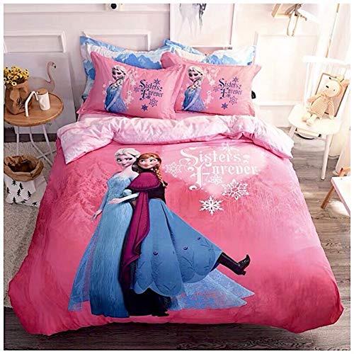 Peachy Baby Bettwäsche-Set Disney Frozen für Einzelbett, Doppelbett, King-Size, 100% Baumwolle, Motiv ELSA Anna 3 und 4 Teile, Baumwolle, Rose, Kingsize