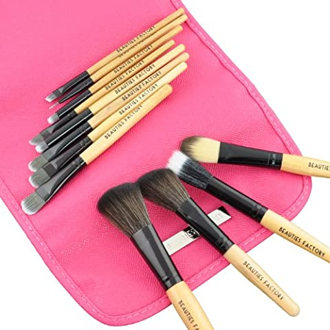 Beauties Factory - Professional Grade - 12 Piece Makeup Brush Set with Pink Panther Design Brush Holder - 831A by Beauties Factory
