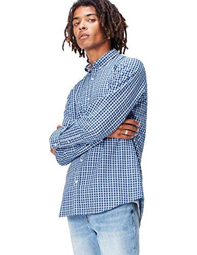 FIND Camisa de Cuadros para Hombre, Azul (Blue), Small