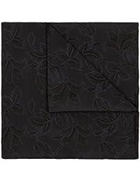 DUCHAMP London 100% Silk Pocket Square Handkerchief Floral Dark Grey