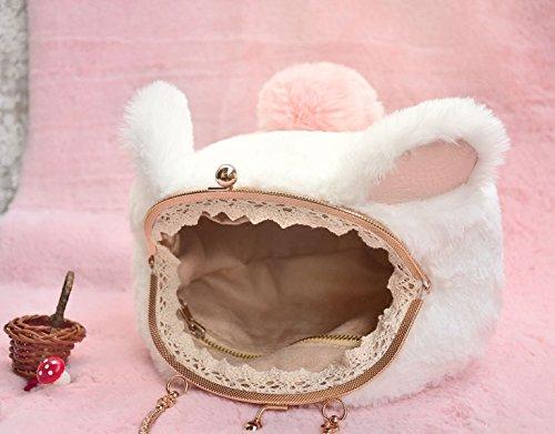La Signora Del Sacchetto Della Peluche Carino Stile Gattino Super Soft Peluche Mini-bag Mobile Messenger Pink