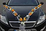ROSEN GIRLANDE Auto Schmuck Braut Paar Rose Deko Dekoration Autoschmuck Hochzeit Car Auto Wedding Deko PKW (Rose Orchidee Gelb/Weiß)