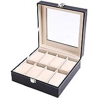 MJ 8 Slot Leather Watch Box Display Case Organizer Glass Jewelry Storage Black