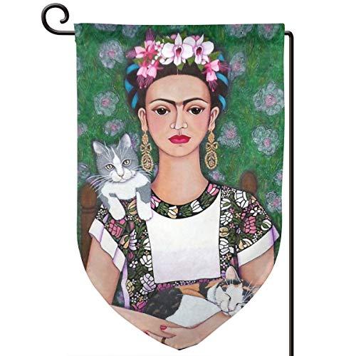 Lilyo-ltd Frida Cat Lover Garden Yard Flagge, 31,8 x 45,7 cm, doppelseitig, Polyester