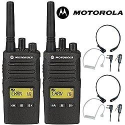 8Km Motorola XT460 Dos Vías PMR 446 Walkie Talkie Licencia Libre Radio Con Comtech CM-515TH PTT/VOX Micrófono De Garganta Auriculares - Negro, Twin