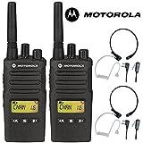 8Km Motorola XT460 2 Wege PMR 446 Walkie-Talkie Lizenzfreier Funk Mit Comtech CM-515TH PTT/VOX Kehlkopfmikrofon Headset - Schwarz, Twin
