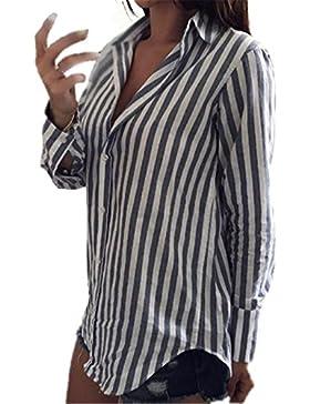 Kerlana T-Shirt Donna Lungo Manica Lunga V-collo Autunno Invernali Moda Casual Camicetta Semplice Striscia Maglie...