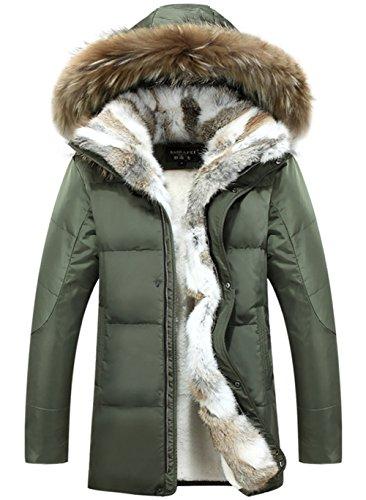 YYZYY Herren Winter Warm Daunenmantel Mäntel Pelzmantel 90% Daunen Fellkapuze Lang Parka Luxurious Fur Jacken Rex Fur Collar Armee-Grün