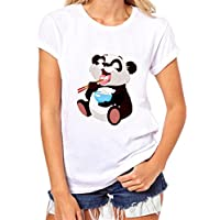 Mujer Camisetas ,YUYOUG Mujeres niñas más tamaño Panda impresión camisetas camisa de manga corta blusa de algodón (XL, A)