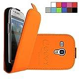 COOVY Étui pour Samsung Galaxy S3 MINI GT-i8200 GT-i8190 GT-i8195 SLIM FLIP Cover Case Coque Housse Étui de protection fin à clapet avec film de protection d'écran | Couleur orange