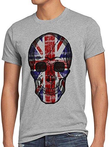 Toter Rocker Kostüm - style3 Great Britain Skull Herren T-Shirt Totenkopf England Flagge Oberteil Union Jack Kostüm, Farbe:Grau meliert, Größe:4XL