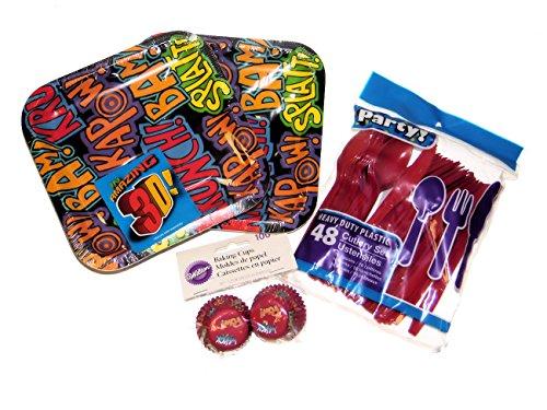 Superhero Cartoon Worte Fun Party Supplies-Teller, Besteck & Mini Backförmchen