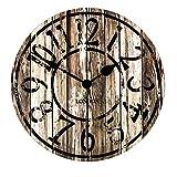 XIAOLVSHANGHANG Clock Runde Wanduhr, Amerikanischen Retro Industriellen Stil Wohnzimmer Schlafzimmer Hängen Tisch Restaurant Kreative Uhr Stille Uhr 30 cm (Farbe : A)