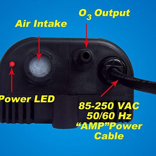 Yaoaomon Purificateur d'air d'ozonateur de Piscine à air 85-265V 6W 300mg / h de générateur d'ozone Aquatique Noir