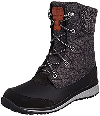Salomon Womens Hime Mid-W Snow Boot, Black, 5.5 M US, Black, 3.5 UK