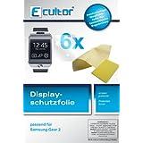 Ecultor Samsung Gear 2 Schutzfolie (6 Stück) inkl. Tuch und Rakel - klare Premium Folie als Displayschutz