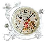 Home Sweet Home Fashion Decor Iron Beistelltisch Nachttisch Wanduhr Wohnzimmer, Oval, mit Blumen und Uhr Digital Schmetterlingen