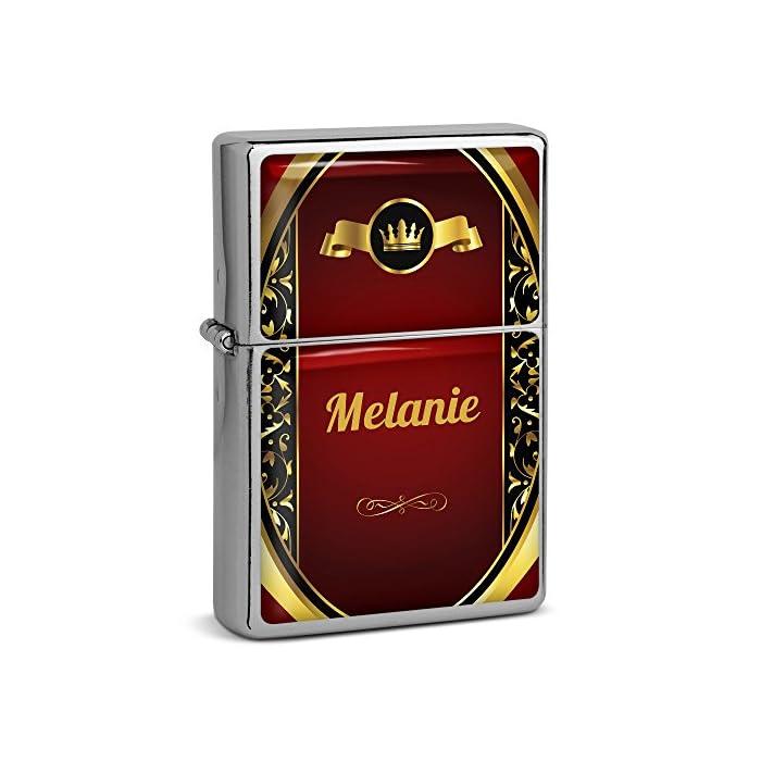 PhotoFancy® - Sturmfeuerzeug Set mit Namen Melanie - Feuerzeug mit Design Wappen 1 - Benzinfeuerzeug, Sturm-Feuerzeug