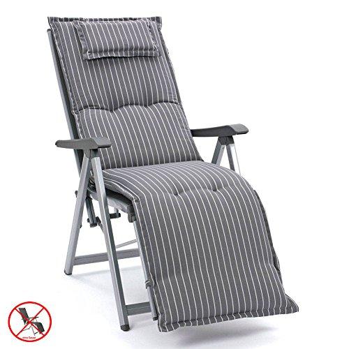 Auflagen für Relaxliegen in grau gestreift mit Kopfpolster Kettler Dessin 709 (ohne Liege)