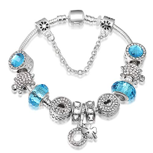 A TEBracciale Charms da Donna e Ragazza Blu cristalli Beads Regalo Festa SKU:JW-B36