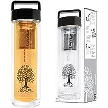 amapodo bottiglia di tè teiera pentola macchina del tè bicchiere di tè con filtro del tè e il coperchio di bambù bevandabottiglia creatore di tè macchina infusore di vetro per andare a doppia parete senza BPA
