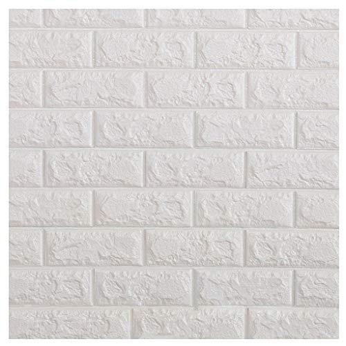 YNFNGXU PE Espuma autoadhesiva 3D Wallpaper Pegatina ladrillo en Relieve azulejo de cerámica de la Pared de Piedra Dormitorio Cocina Sala de Estar decoración 77x70cm (Color : White, Size : 20pack)