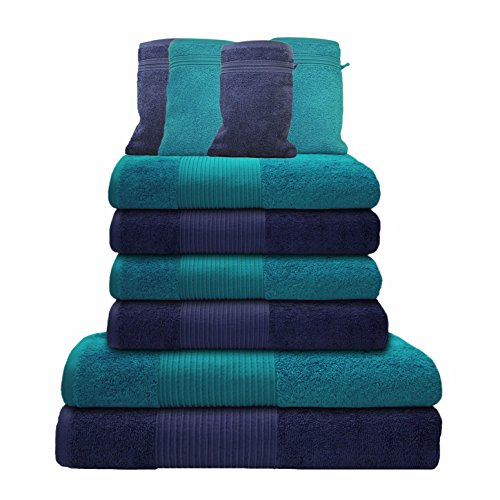 Liness 10 tlg Handtuch-Set 4 Handtücher 50x100 cm 2 Duschtücher Badetücher 70x140 cm 4 Waschhandschuhe 16x21 cm 100% Baumwolle blau türkis-petrol