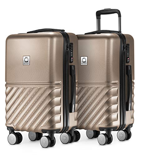HAUPTSTADTKOFFER - Boxi - 2er Handgepäck Kofferset Bordgepäck Cabin Size Koffer 55cm, ABS-Hartschale TSA, 4 Spinner-Doppelrollen, Gold