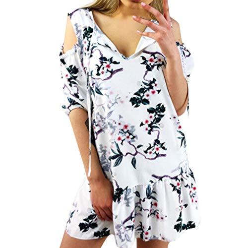 BOIYI Rock Frauen Sommer Sexy V-Ausschnitt Schulterfrei Laterne Ärmel Drucken Minikleid(Weiß,L)
