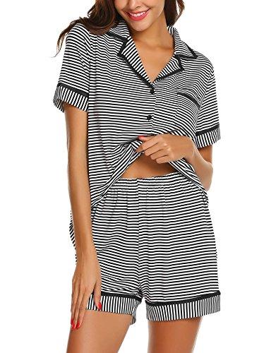 Baumwolle Pyjama-böden (MAXMODA Damen Schlafanzug Kurz Baumwolle Pyjama Sommer Nachtwäsche Nachthemd Hausanzug Kurzarm V Ausschnitt)