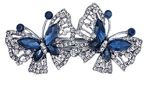 SaySure - Double Butterfly Rhinestone Big Crystal Elegance Hair Clip