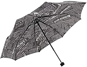 Kraptick Travel Newspaper Umbrella - 60 MPH Windproof Lightweight for Men Women and Kids, Compact Travel Unique Umbrellas (Black)