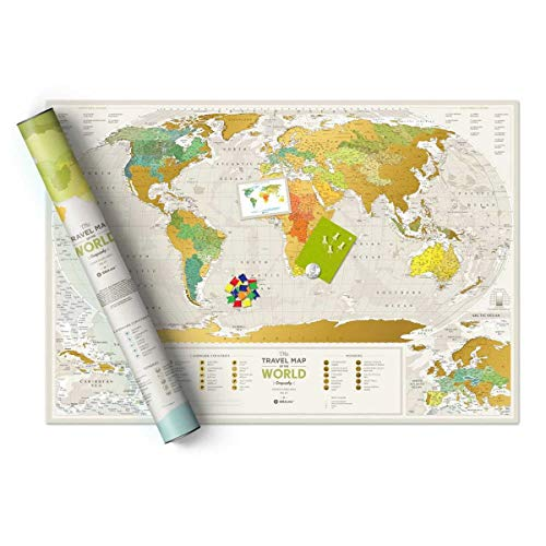 Detailed Scratch Places Off World Poster - Premium Edition - 88x60 cm - Large Places I've Been Travel Map - Great World Map Gift - Laminated Paper Map - You Can Mark Over 10 000 Places