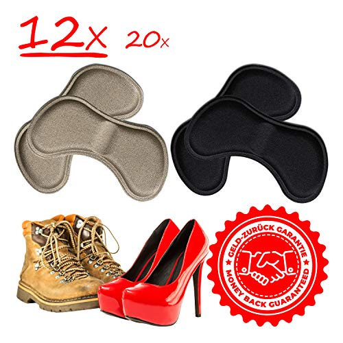6 Paare komfortable Fersenpolster (verschiedene Farben) | Fersenhalter | Heel Pads | Schuheinlagen | für mehr Komfort und einen besser passenden Schuh | 3x Schwarz & 3x Beige