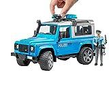 BRUDER - 02597 - Véhicule de Police LAND ROVER Defender Station avec Policier - Bleu
