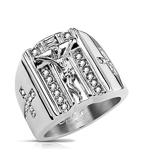 Siegelring Herren Ring aus Edelstahl silberfarben mit weißen Zirkon Steinen – Herren Schmuck Kreuz Religion Katholisch Jesus Modeschmuck Männer – 4 Größen zur Auswahl (Prime Freimaurer Ringe)