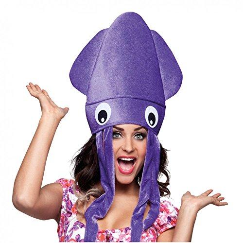 Tintenfisch-Hut lila Mütze Unterwasser Tiere Spaßhut Fasching (Kostüm Tintenfisch Hut)