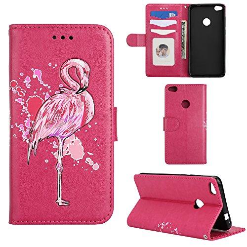 Lederhülle für Huawei P8 Lite 2017 / P9 Lite 2017 Flamingo Glitzer, Misteem Elegant Luxus Motiv Cartoon Anime Flip Klapphülle für Huawei P9 Lite 2017 - Rote Rose