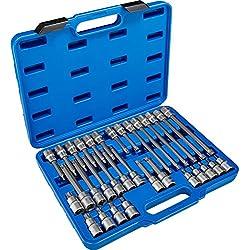TecTake Steckschlüsselsatz Torx | Steckschlüssel mit Kodierung und Kugelfangrille| inkl. Koffer - verschiedene Modelle (Typ 5 | Nr. 402691)