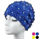medifier Hohl Blumen Perlen von Hand Damen Badekappe Badekappe, blau