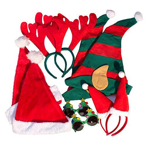PartyPrawn Verkleidung Set Weihnachten XMASZAUBER2 - 10 Requisiten für Weihnachtsfeier, Fotos aus der Fotobox - weihnachtliche Accessoires - 4 Mützen, 2 Brillen, 2 Geweihe, 2 Haarreifen