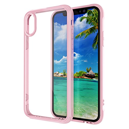 iPhone X Handycover, MOONMINI für iPhone X Air Cushion Ultra dünn Transparent Weich TPU Silikon Handy Tasche Weiche Silikon Cover Anti-Kratzer Anti-Drop Schutzhülle Backcover Case Rot Rosa