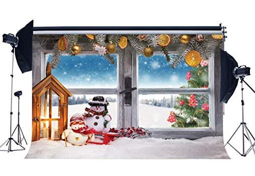vrupi Weihnachtshintergrund 5X3FT Vinyl Weihnachtsdekoration Baum Kulissen Schneemann Laterne Sleigh Holz Fenster Starker Schnee Winter Wonderland Fotografie Hintergrund Happy Year QB102