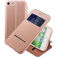 Nouske iPhone 7 iPhone 8 4.7 Zoll hülle Etui Smart Touch S View Window Leder Wallet Klapphülle Flip Book Case TPU Cover Bumper Ultra Slim Rundumschutz, Rose Gold