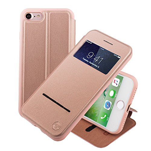ne 8 4.7 Zoll hülle Etui Smart Touch S View Window Leder Wallet Klapphülle Flip Book Case TPU Cover Bumper Ultra Slim Rundumschutz, Rose Gold (Windows 8 Phone Case)
