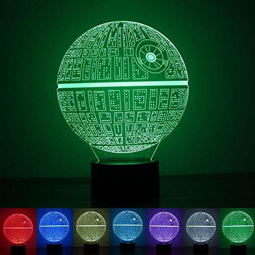 3D Illusion Lampe, Umiwe 3D Optische LED-Effekt Star Wars Death Star Nachtlicht Tisch Schreibtischlampe 7 Farbwechsel Touch Lampe für Hochzeit Geburtstag Weihnachten Valentinstag Freunde Kinder Geschenke Künstlerische