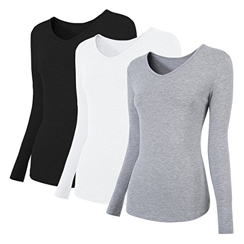 H HIAMIGOS Damen Langarmshirts (3 Stück) aus Baumwoll-Stretch - Mehrfarbig (Schwarz/Weiß/Grau), M