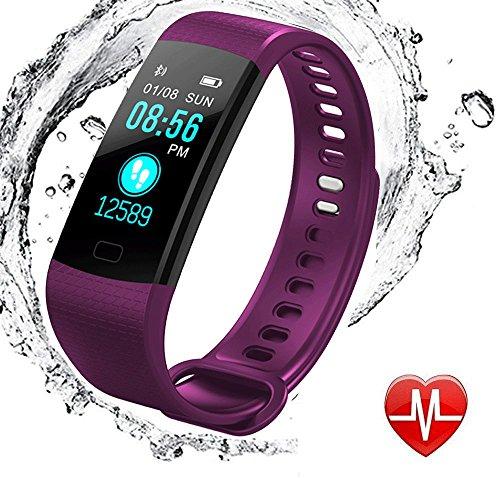 Fitness Armband mit Pulsmesser, elecfan Wasserdicht IP67 Fitness Tracker Aktivitätstracker Color Screen Pulsuhren Bluetooth Smart Armbanduhren Smartwatches mit Schlafmonitor Kalorienzähler Vibrationsalarm Schrittzähler mit iPhone Android Handy - Lila